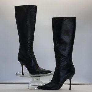 Jimmy Choo Black Leather Heel Boot